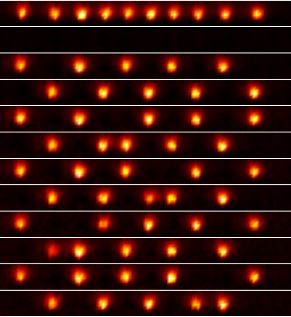 camera images of ions in different magnetic states